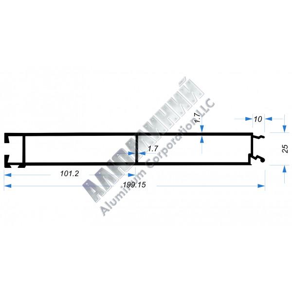 Алюминиевый Бортовой профиль № 51004 - нижняя планка - 200 мм - АН 00234