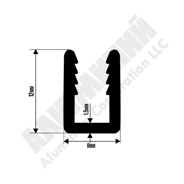 Алюминиевый п-образный 4мм 3112
