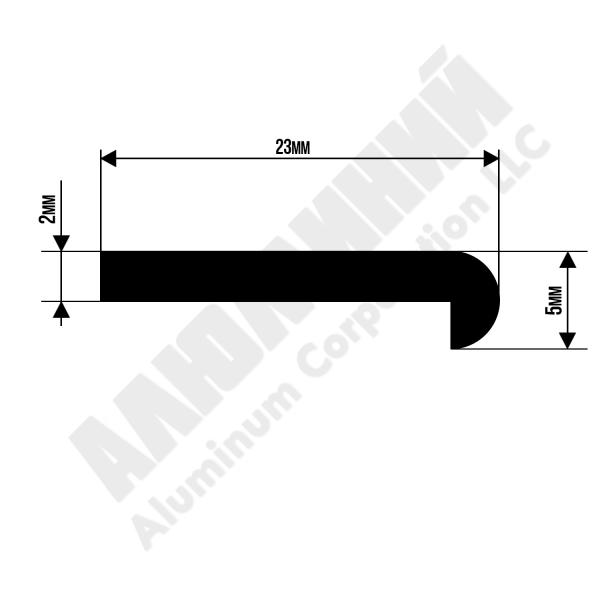 Алюминиевый профиль L-образный | 23х5 chi