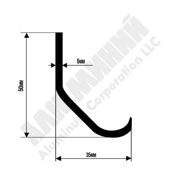 Алюминиевый профиль L-образный | 50х35х5 chi