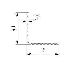 Уголок алюминиевый 40х40х1,95 рифл. - БП 00410 1
