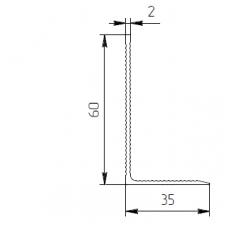 Уголок алюминиевый 60х35х2 рифл - БП 00412 1