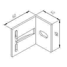 Алюминиевый кронштейн самозажимной 60х60х40 опорный 00417 1
