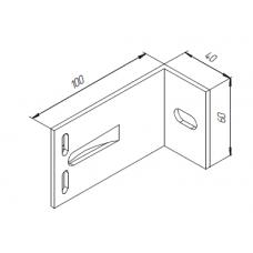 Алюминиевый кронштейн самозажимной <br> 100х60х40 опорный  KR100S 1