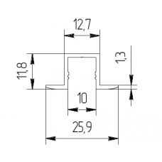 Д-профиль (профиль-держатель керамогранита 10/26мм) D1026 1