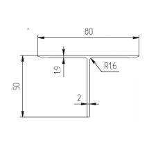 Т-образный профиль 80х50х2 T8050N 1
