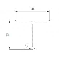 Алюминиевый тавр 70х60х1,7 рифл - БП 00413 1