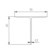 Алюминиевый тавр 70х60х2,2 рифл - БП 00414 1