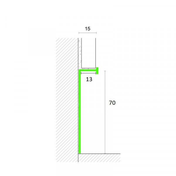 Алюминиевый плинтус скрытого монтажа 70 мм - БП 3114
