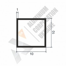 Алюминиевая труба квадратная 10х10х1 - БП 00464 1