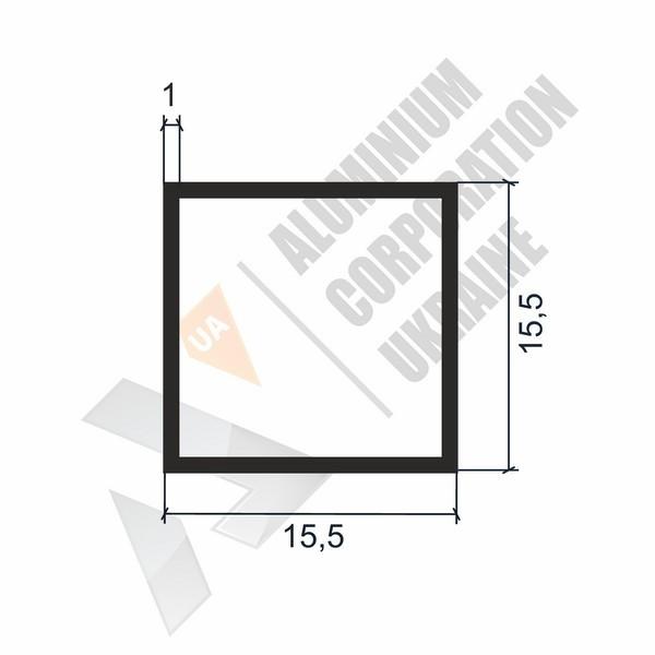 Алюминиевая труба квадратная | 15,5х15,5х1 - АН chi