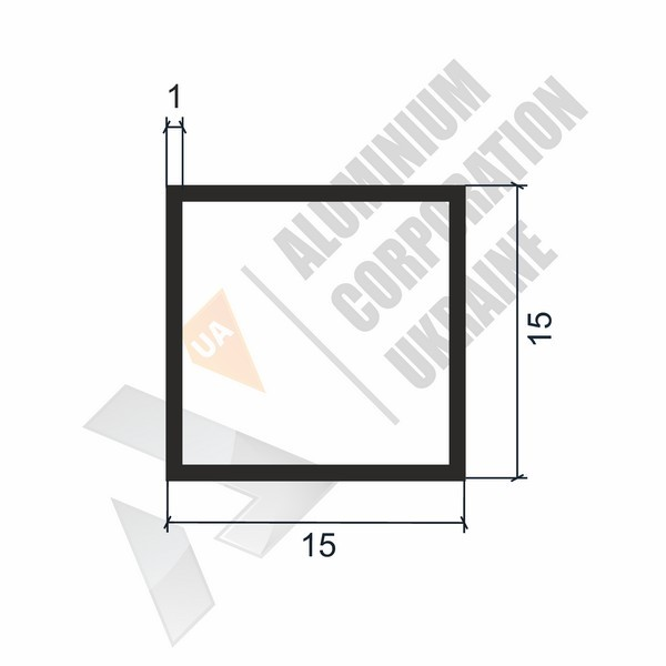 Алюминиевая труба квадратная 15х15х1 - АН 00058
