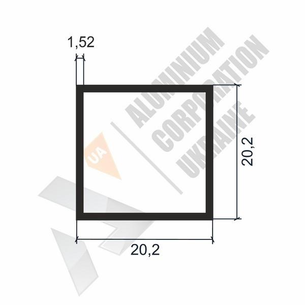 Алюминиевая труба квадратная 20,2х20,2х1,52 - БП 00115