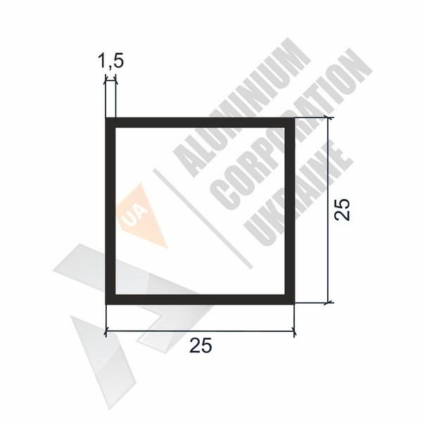 Алюминиевая труба квадратная | 25х25х1,5 - БП 00222