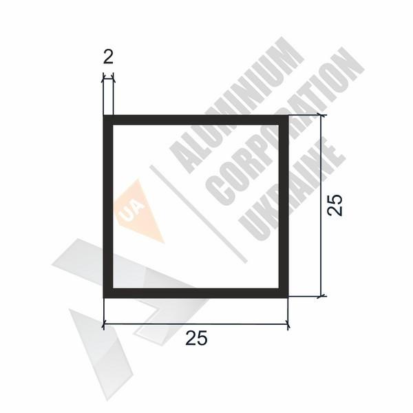 Алюминиевая труба квадратная   25х25х2 - БП 00064