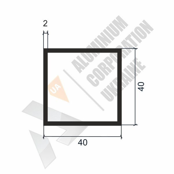 Алюминиевая труба квадратная 40х40х2 - АН 00117