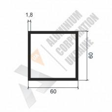 Алюминиевая труба квадратная 60х60х1.8 1139 1