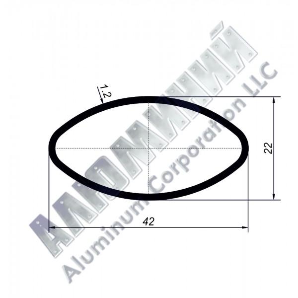 Алюминиевая труба овальная 42х22х1,2 - АН 00232