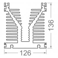 Алюминиевый профиль радиаторный <br> 126х136 - БП 45454 1
