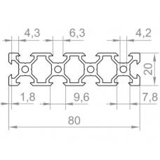Алюмінієвий верстатний профіль v slot  <br> 80х20 - БП 23245 1